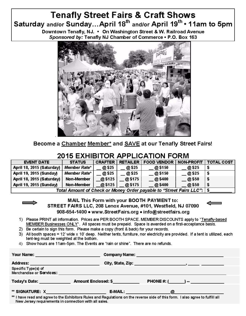 Tenafly NJ Chamber of Commerce Spring Street Fair Application - page 1