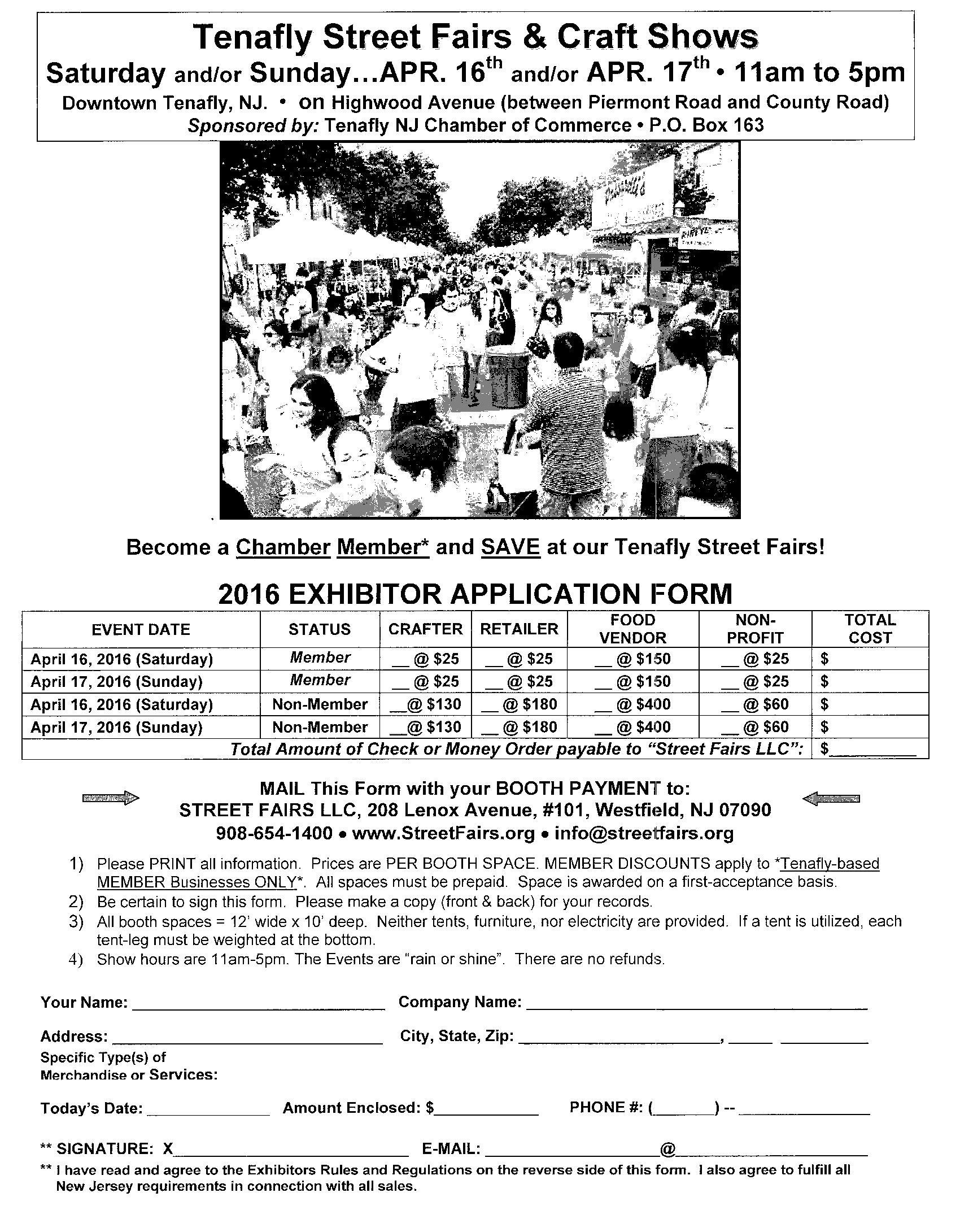 2016 Tenafly Street Fair Application jpg p1