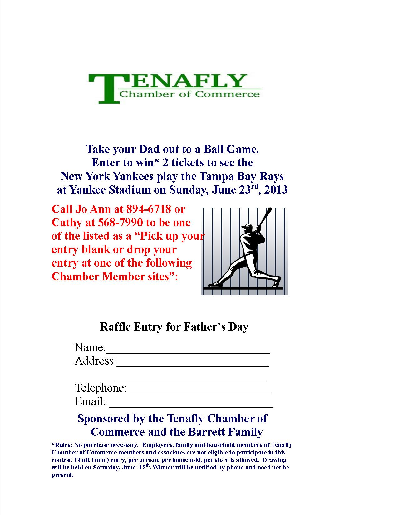 Stop by participating Tenafly Businesses and Enter to Win Two NY Yankee Tickets!