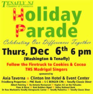 Holiday Parade Dec 6 6 pm Oredko PArk Tenafly