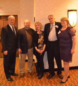 Tenafly Council President and Chamber Liaison Mark Zinna, Guest of Honor Bob Kutik and wife Sheila Kutik, Guest of Honor Gerry Migliore, Tenafly Chamber President Christine Evron