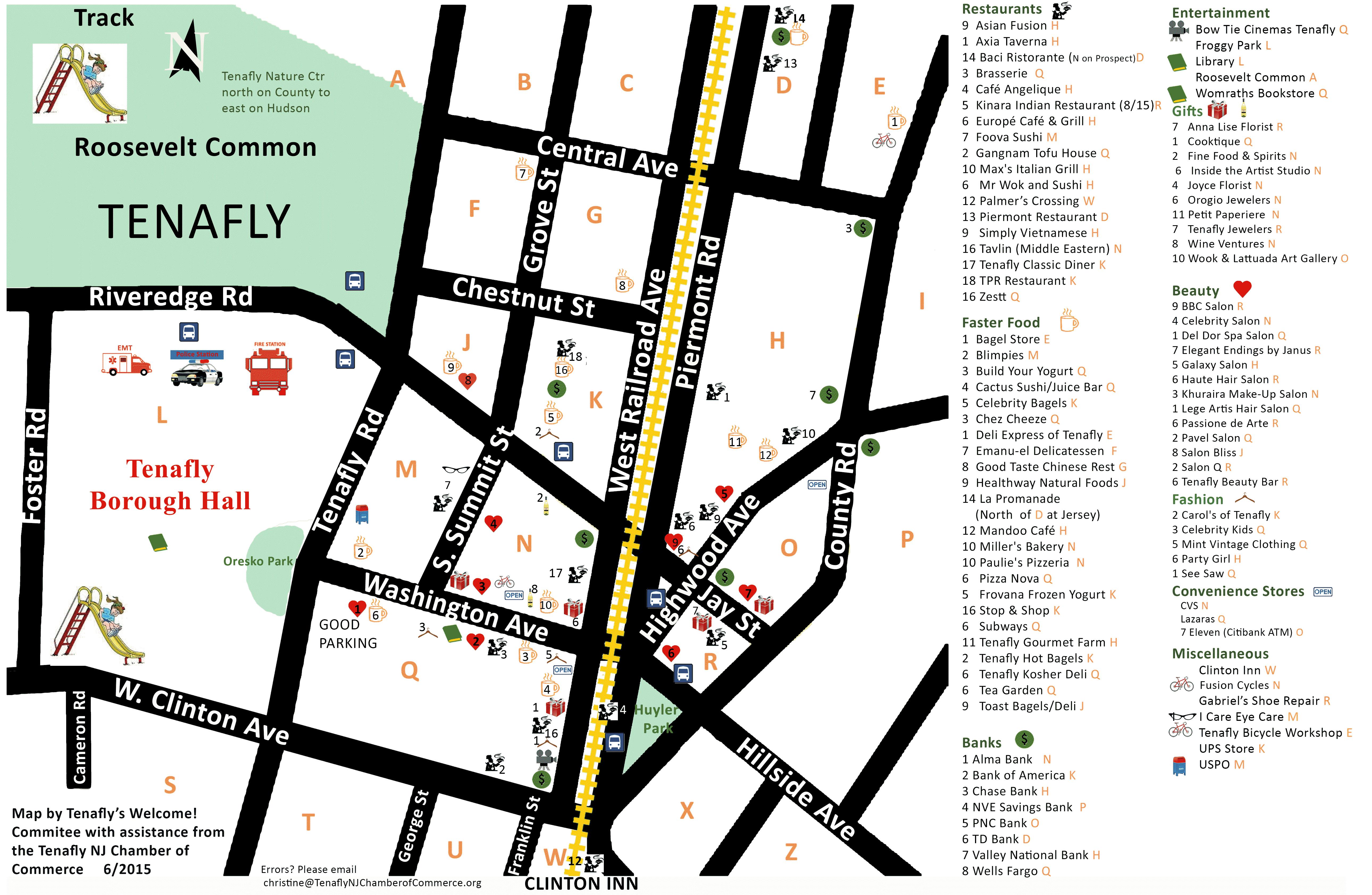 Tenafly Downtown Map June 2015